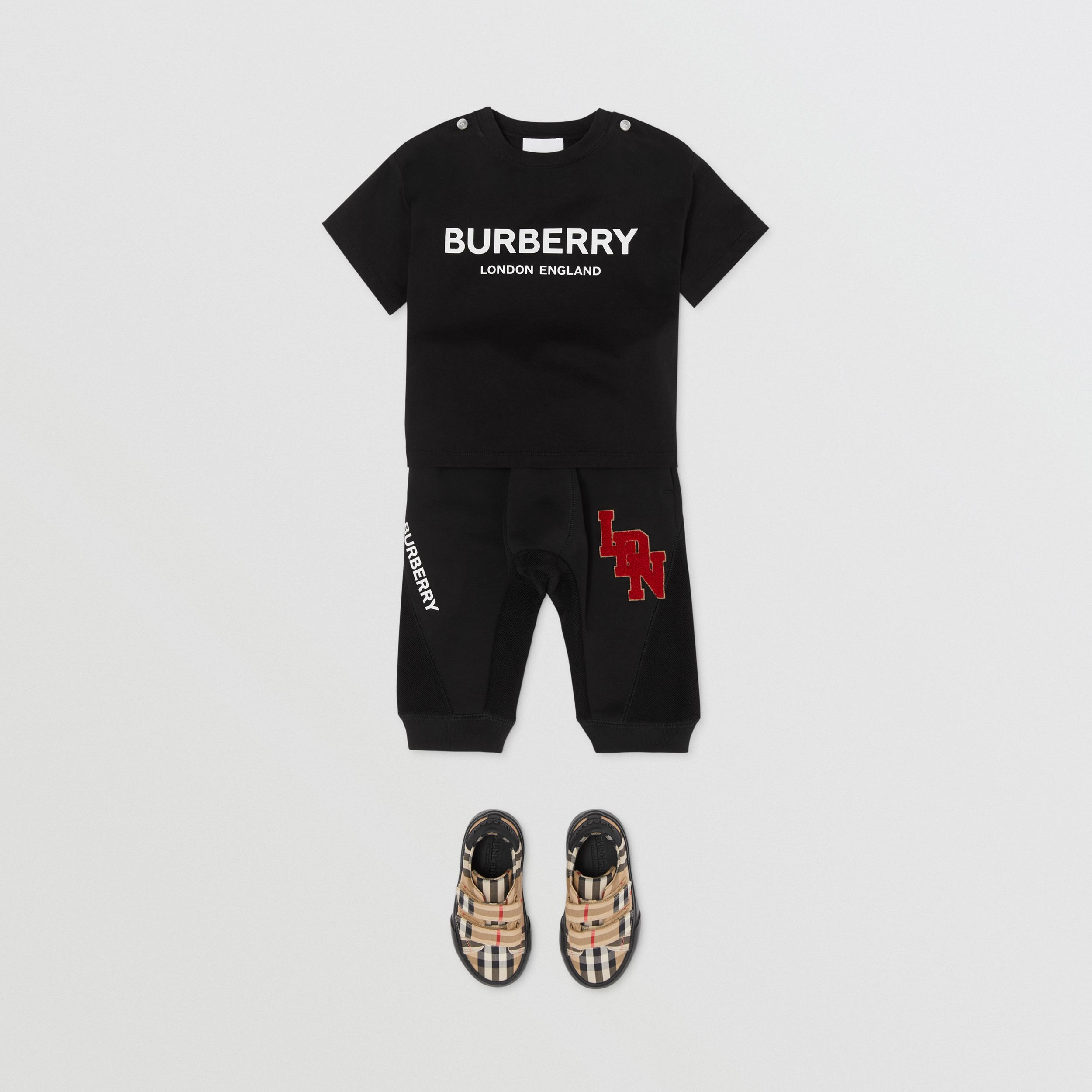 Logo Print Cotton T-shirt in Black - Children | Burberry United Kingdom - 4