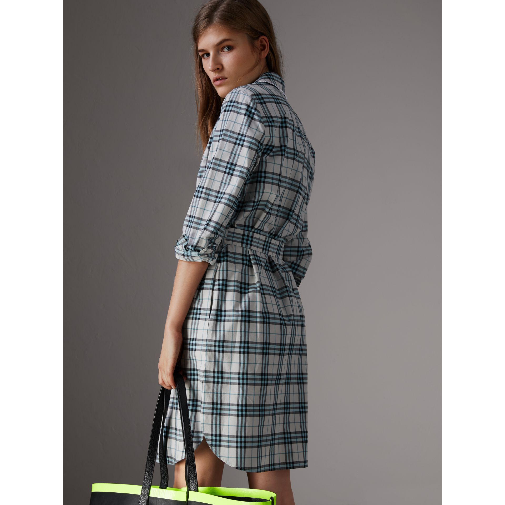 Lace Trim Collar Check Cotton Shirt Dress in Pale Stone - Women | Burberry - gallery image 2