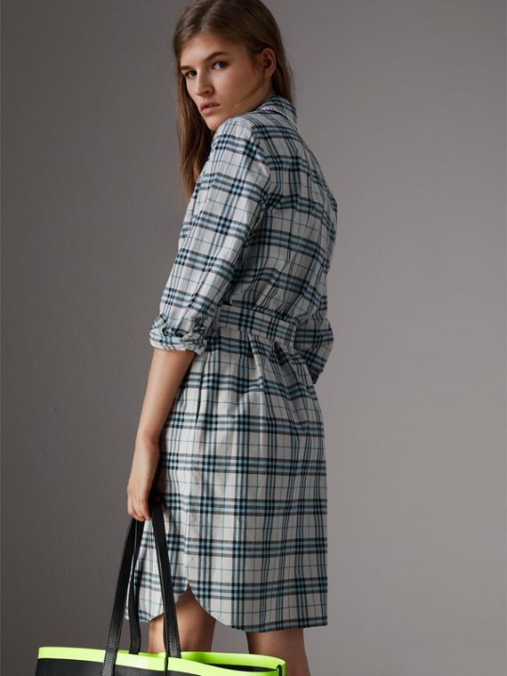 Lace Trim Collar Check Cotton Shirt Dress in Pale Stone - Women | Burberry - cell image 2
