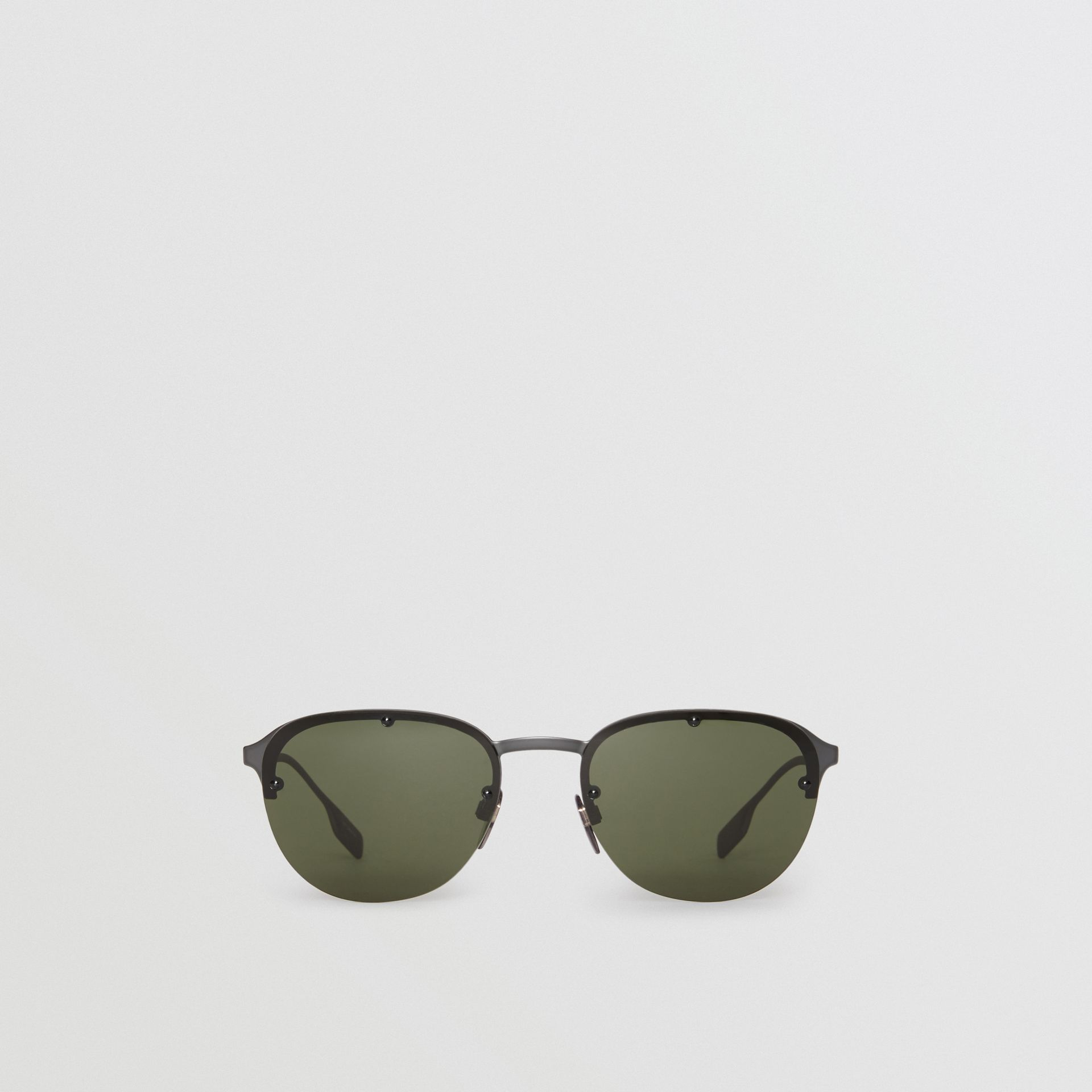 Round Frame Sunglasses in Green - Men | Burberry - gallery image 0