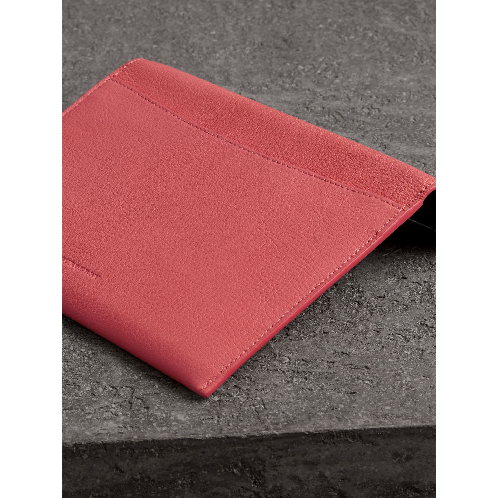 D-ring Leather Pouch with Zip Coin Case in Bright Coral Pink - Women | Burberry - gallery image 2