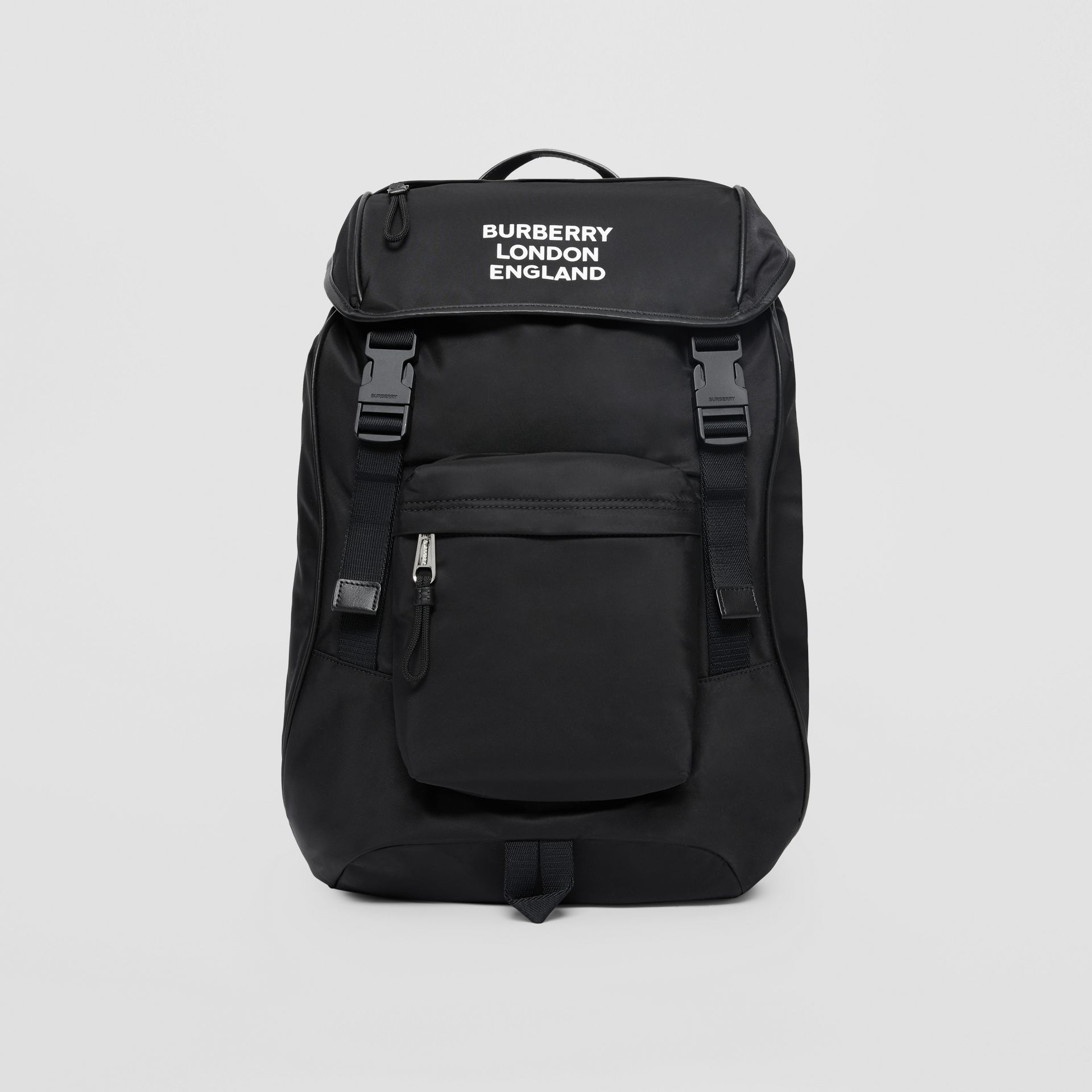 Logo Print ECONYL® Backpack in Black | Burberry - gallery image 1