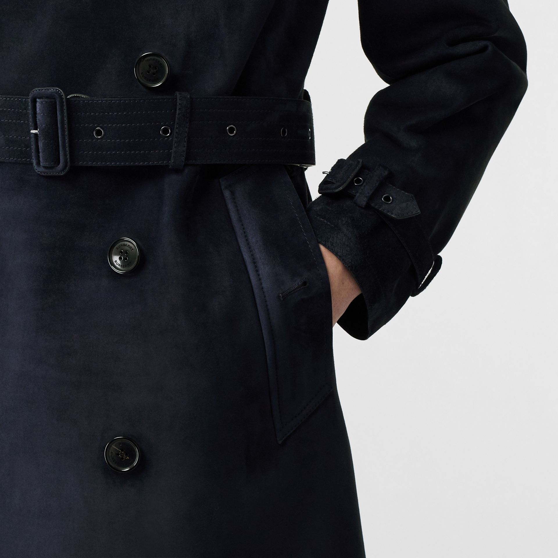 Suede Trench Coat in Navy - Men | Burberry - gallery image 5