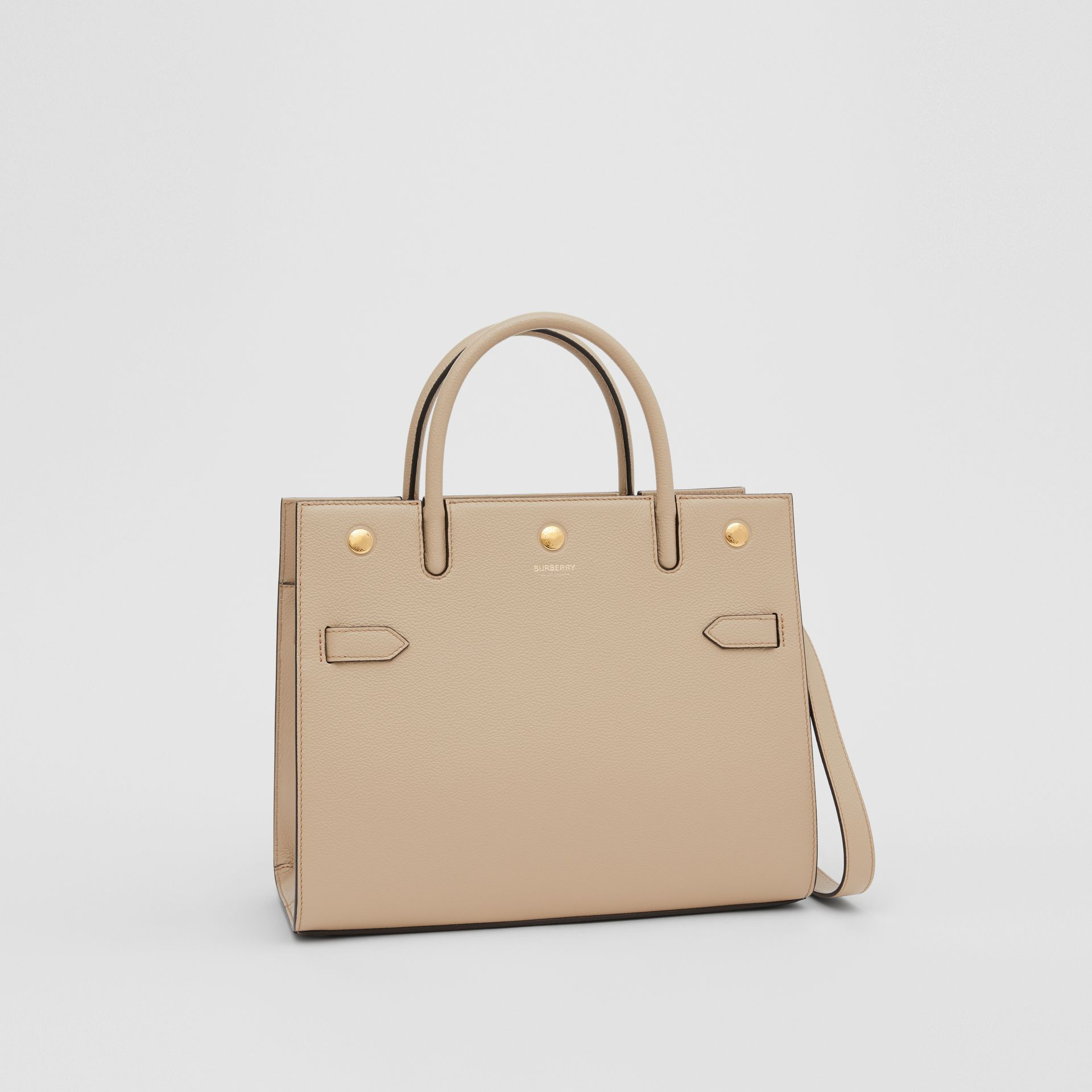 Small Leather Two-handle Title Bag in Light Beige - Women | Burberry United Kingdom - gallery image 4