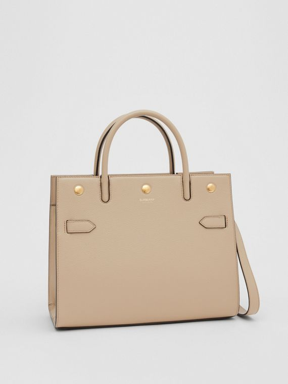 Small Leather Two-handle Title Bag in Light Beige