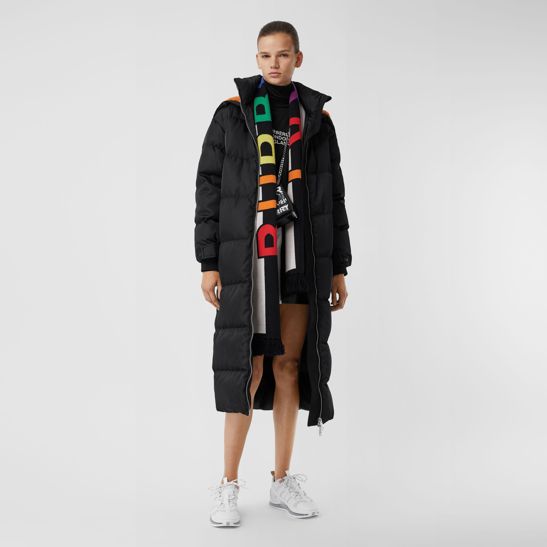 Logo Cashmere Jacquard Scarf in Multicolour | Burberry United States - gallery image 6