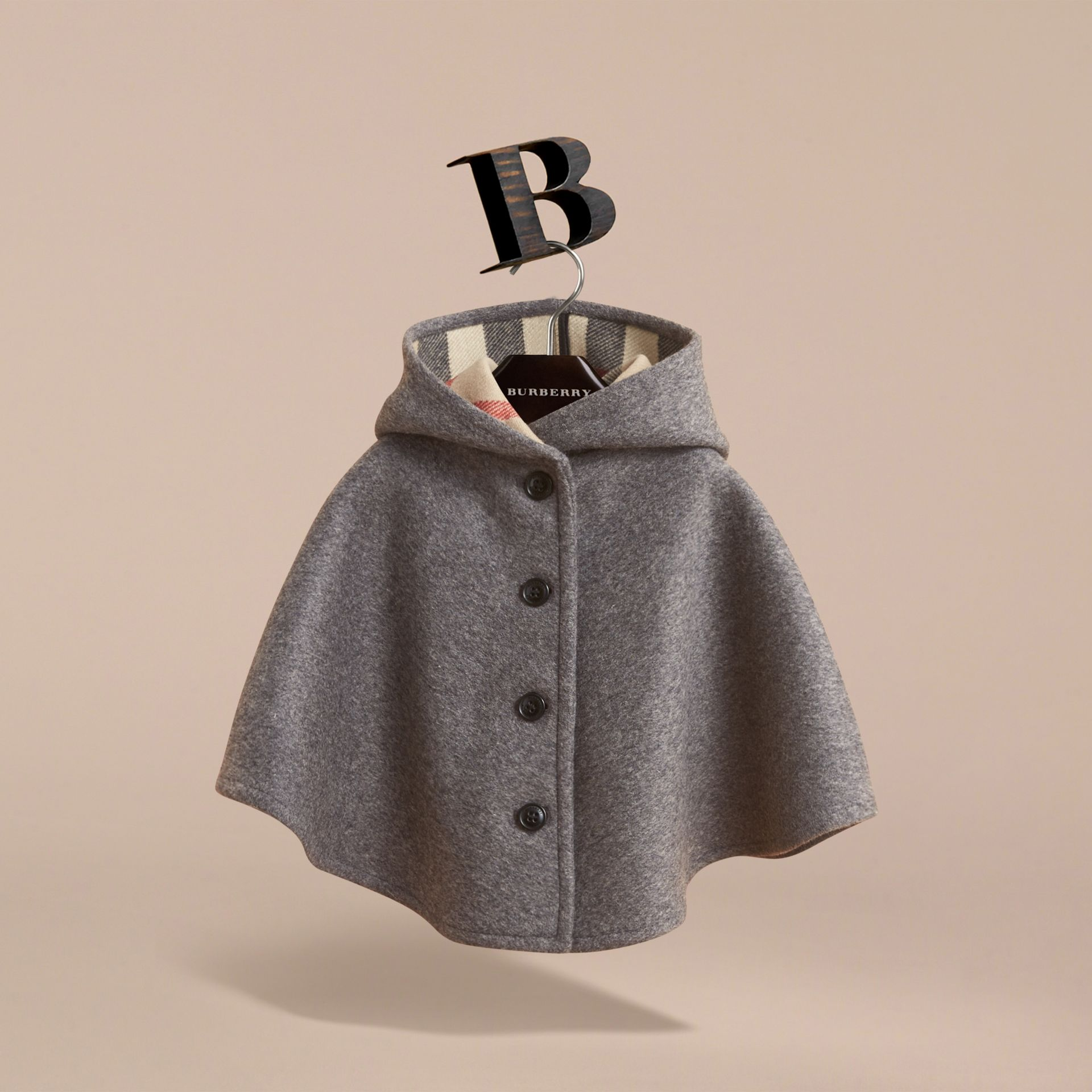 Hooded Check Detail Wool A-line Cape in Mid Grey Melange | Burberry - gallery image 3