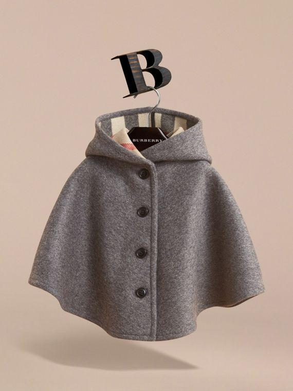 Hooded Check Detail Wool A-line Cape in Mid Grey Melange | Burberry - cell image 2