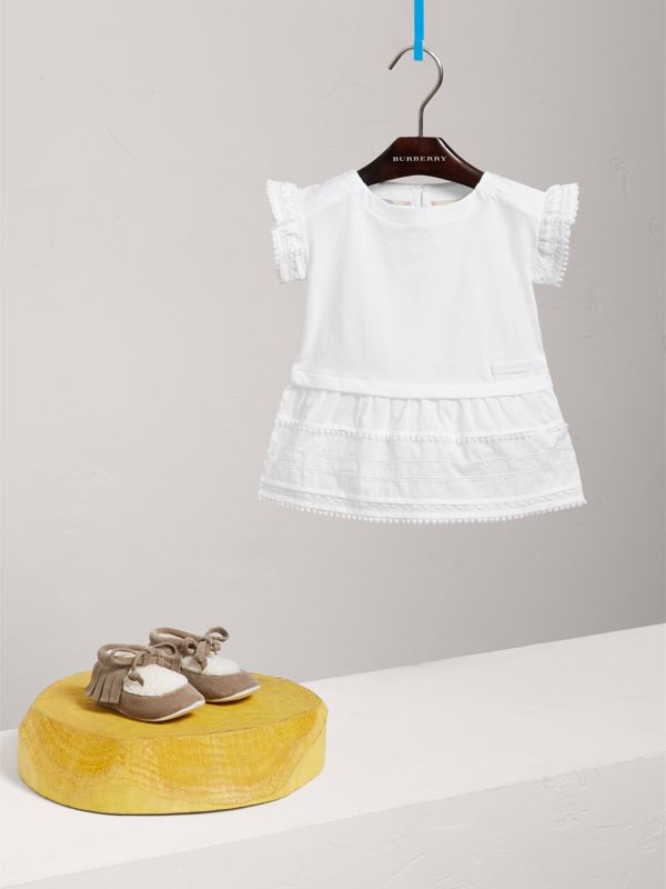 Lace Detail Cotton Dress in White | Burberry - cell image 2