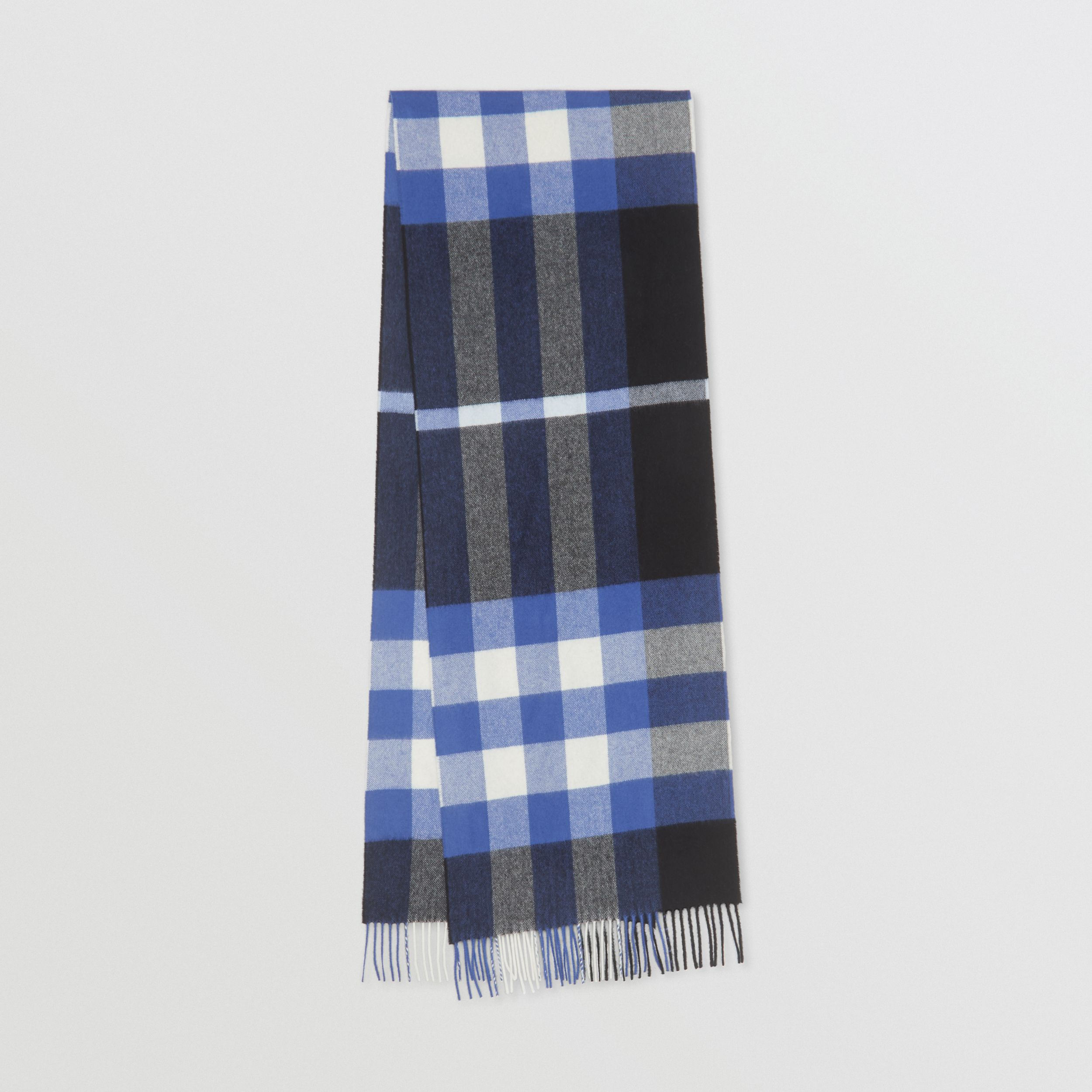 Check Cashmere Scarf in Black/bluebell | Burberry United States - 1
