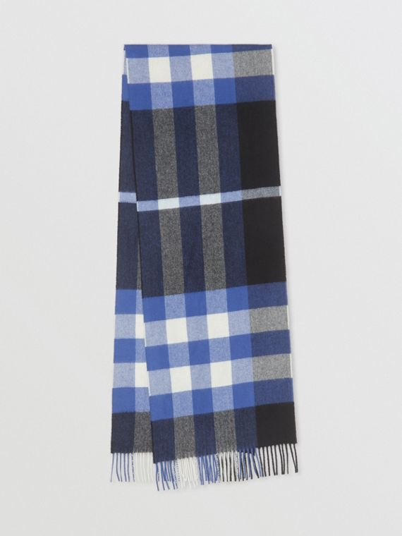 Check Cashmere Scarf in Black/bluebell