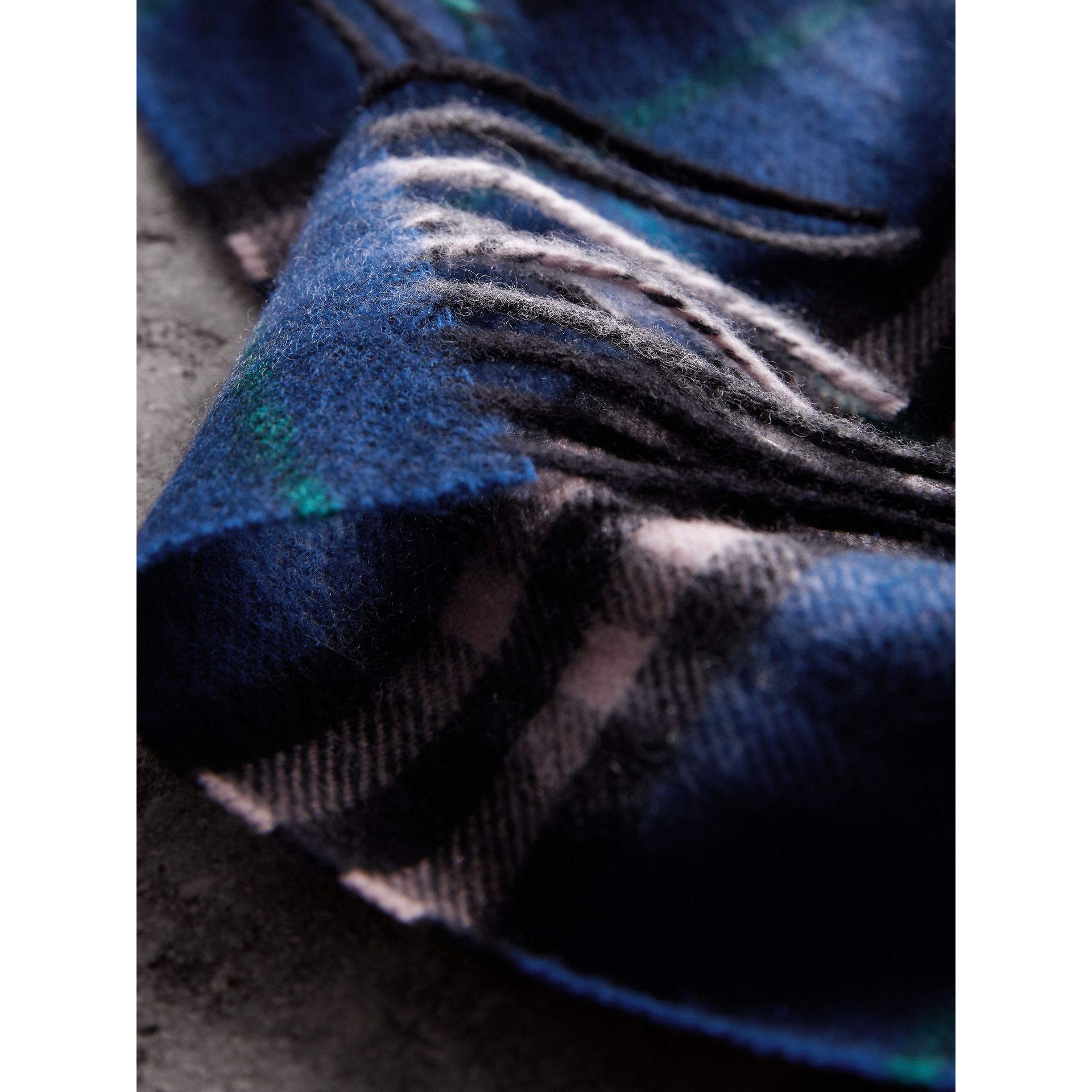 Check Cashmere Scarf in Bright Navy | Burberry - gallery image 1