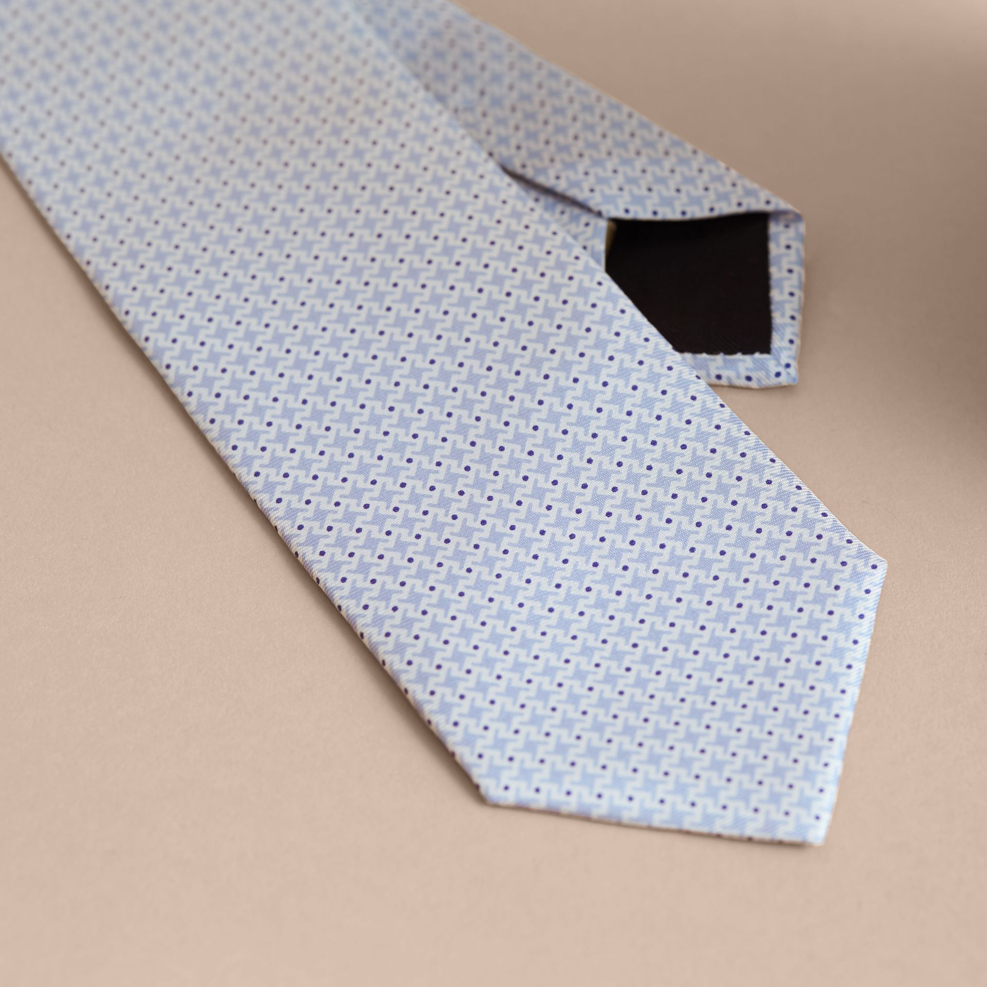 Modern Cut Graphic Puppy Tooth Print Silk Tie in Pale Blue - Men | Burberry Singapore - gallery image 2