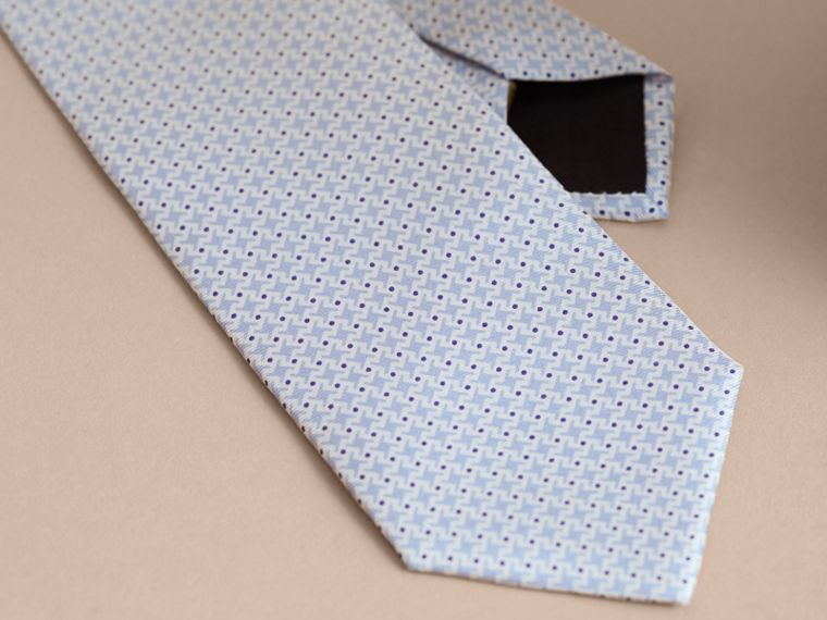 Modern Cut Graphic Puppy Tooth Print Silk Tie in Pale Blue - Men | Burberry - cell image 1