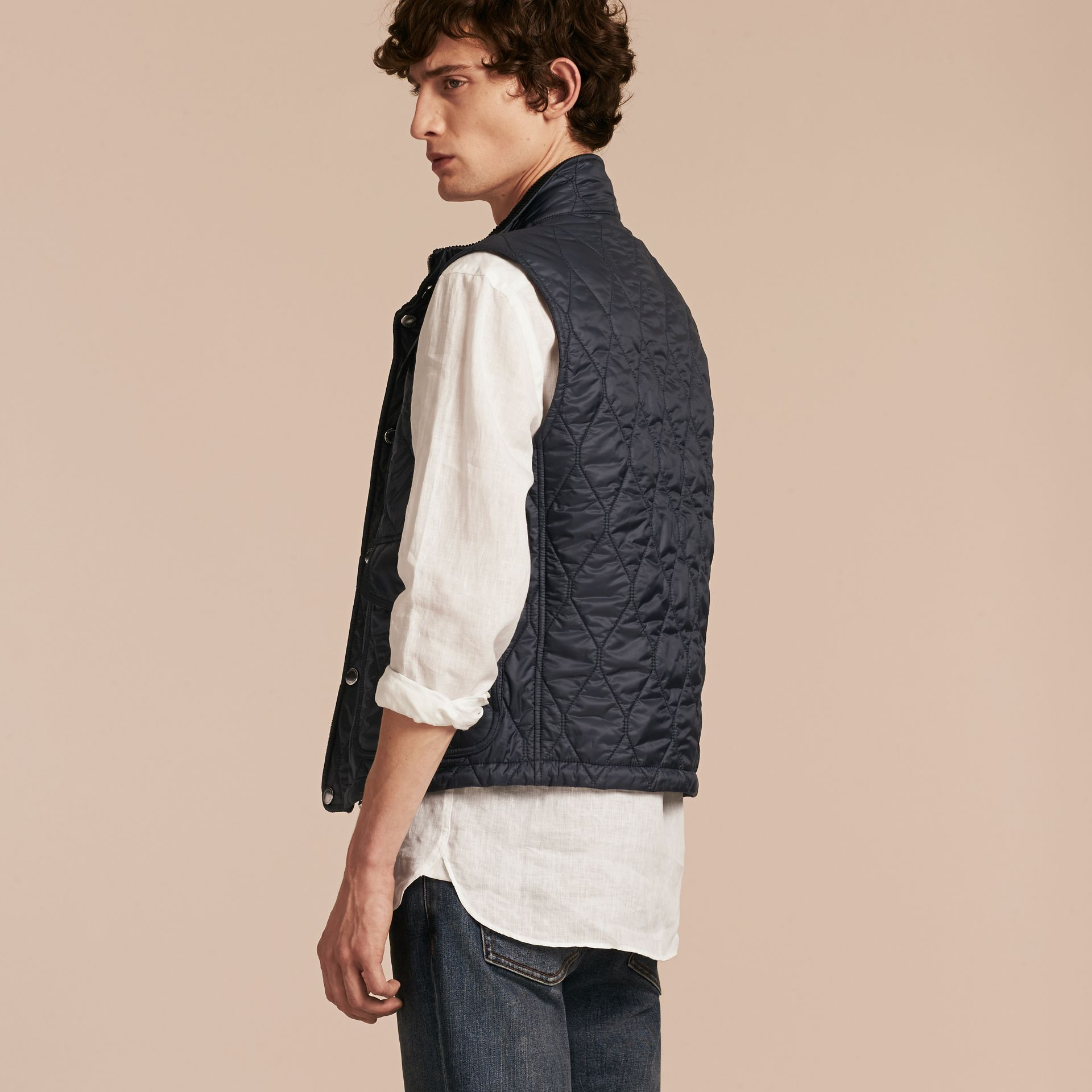 Navy Multi-Pocket Diamond Quilted Gilet Navy - gallery image 3