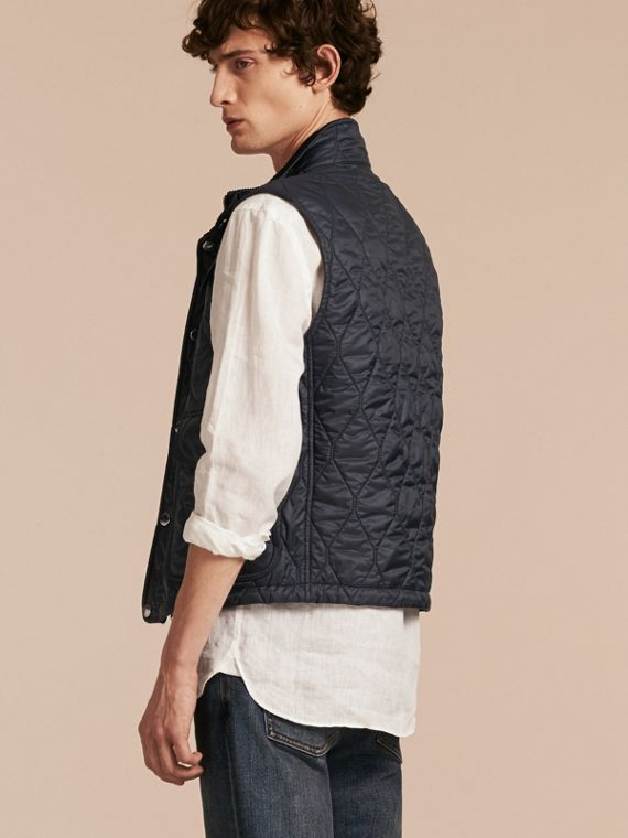Navy Multi-Pocket Diamond Quilted Gilet Navy - cell image 2