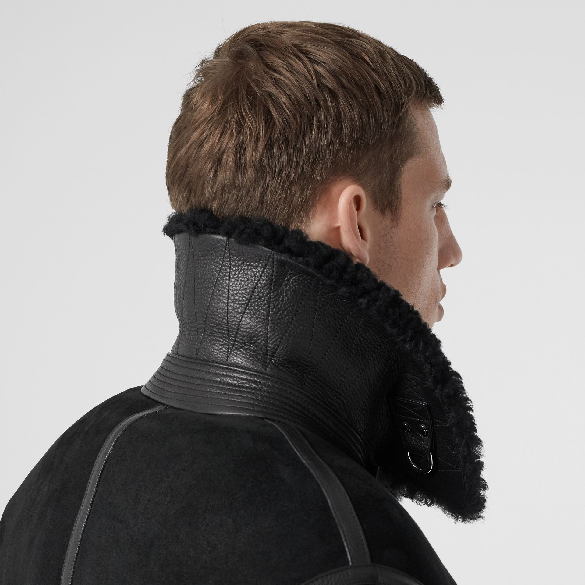 Shearling and Leather Jacket in Black - Men | Burberry - gallery image 4