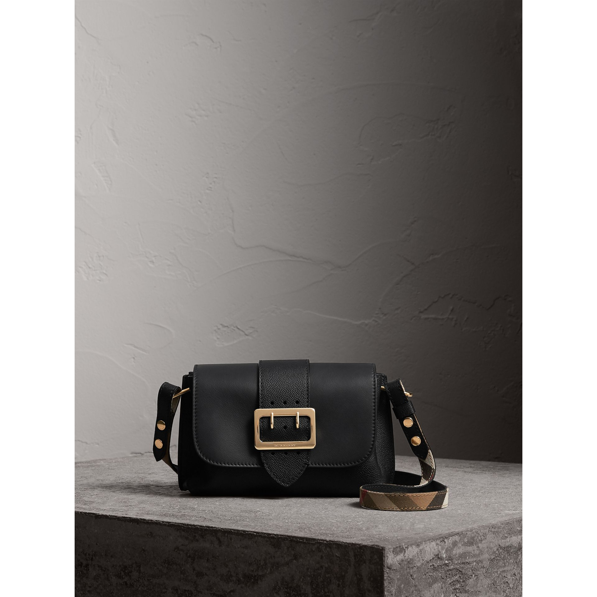 The Buckle Crossbody Bag in Leather in Black - Women | Burberry - gallery image 1