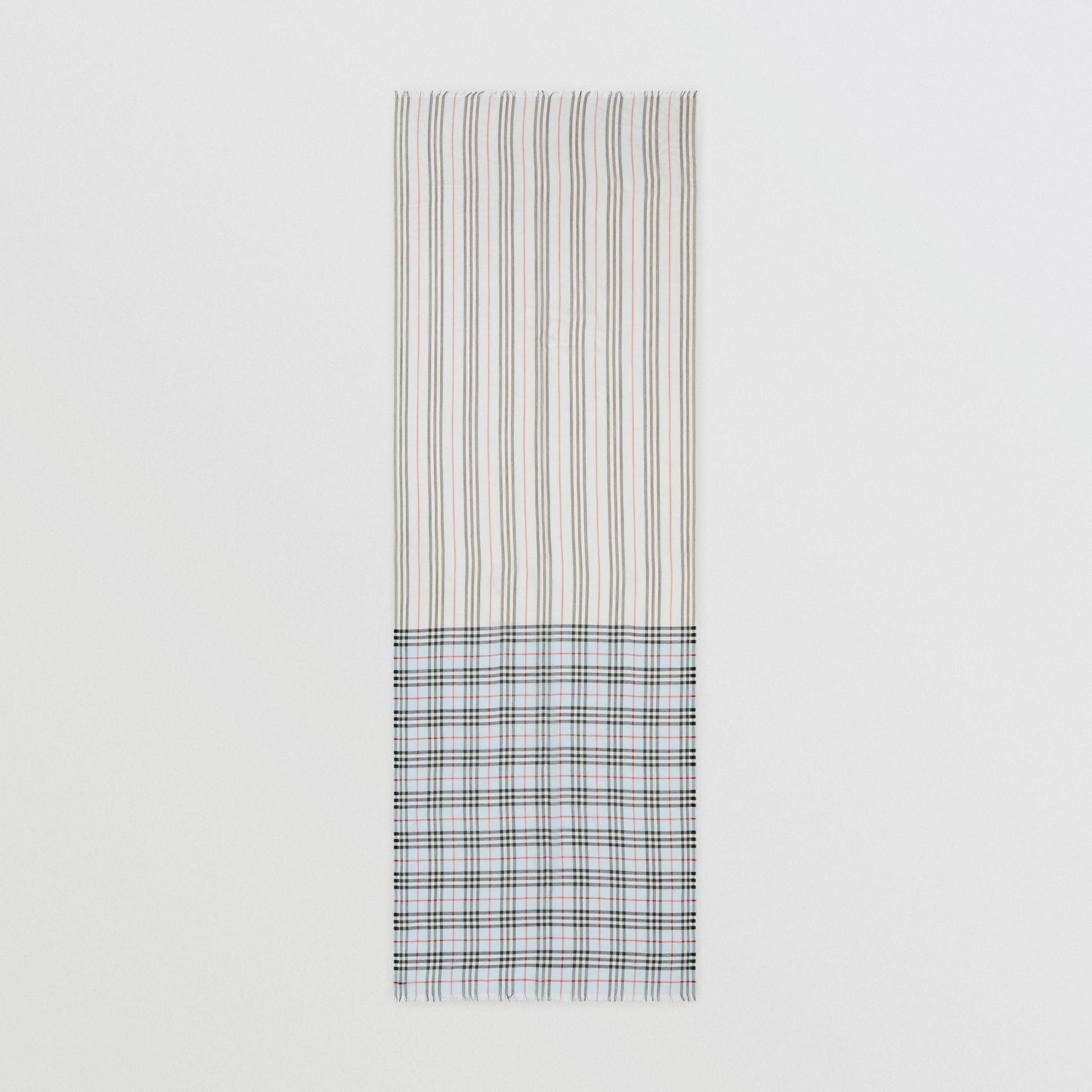 Icon Stripe and Vintage Check Wool Silk Scarf in Pale Blue | Burberry Australia - gallery image 4