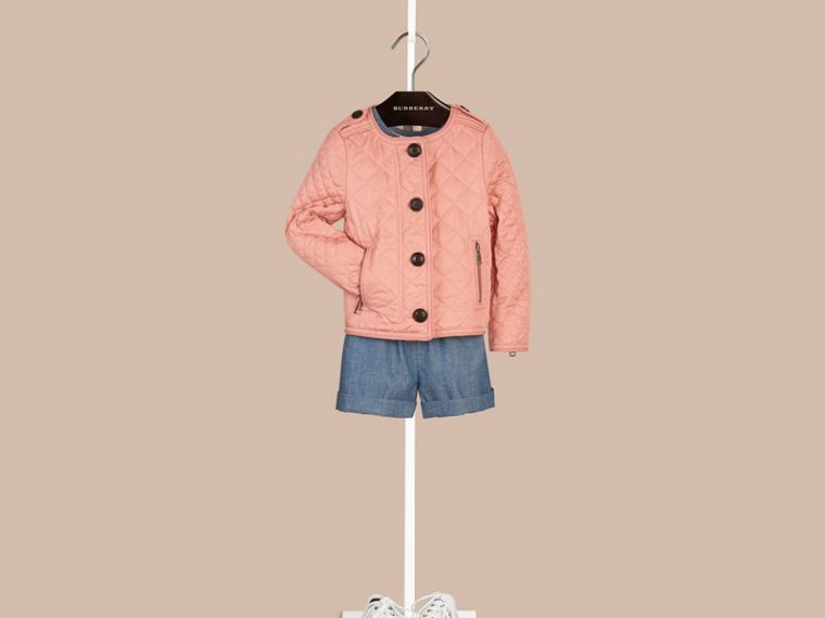 Light copper pink Collarless Diamond Quilted Jacket - cell image 1