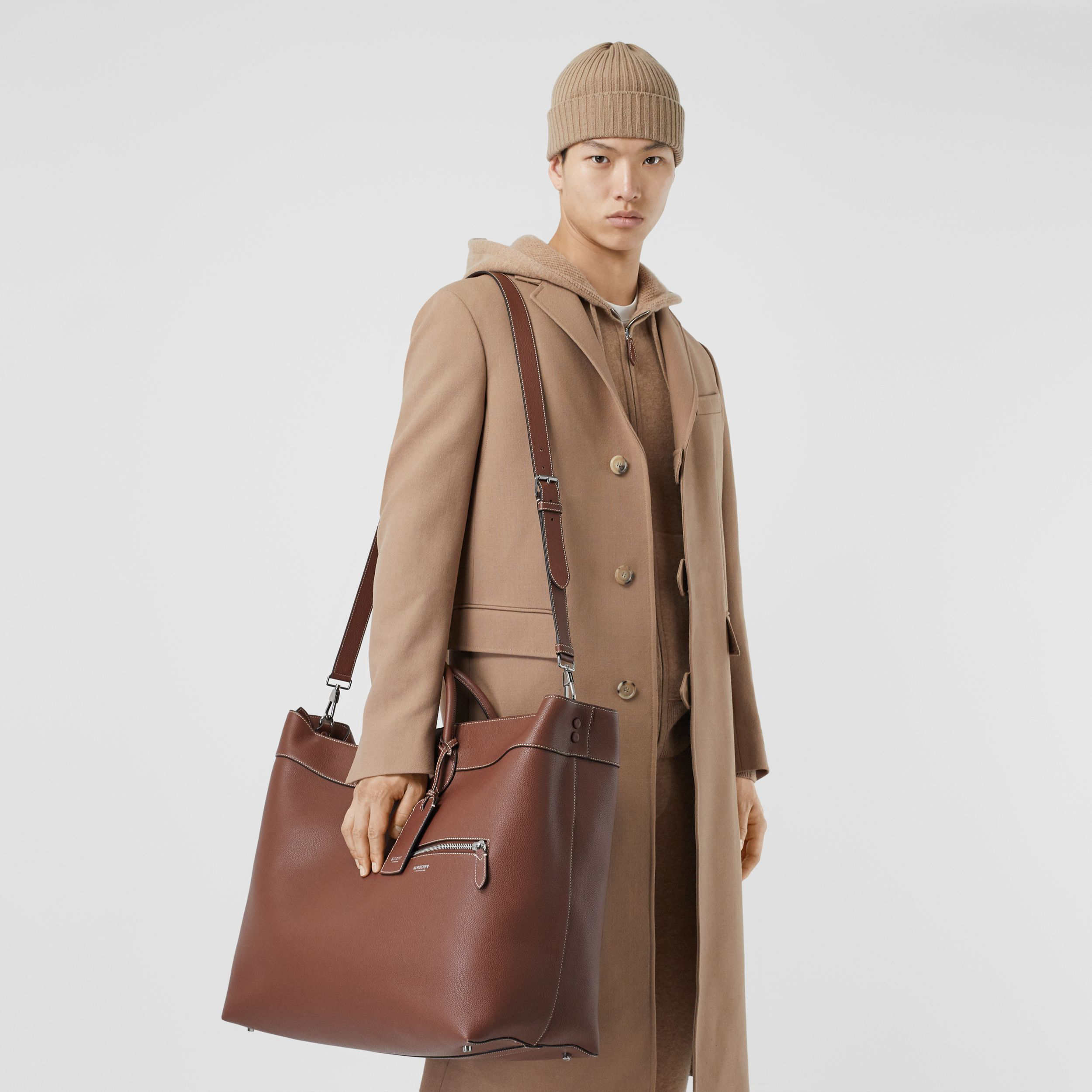 Grainy Leather Holdall in Tan - Men | Burberry - 3
