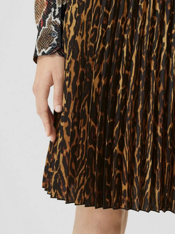 Leopard Print Pleated Skirt in Dark Mustard - Women | Burberry - cell image 1