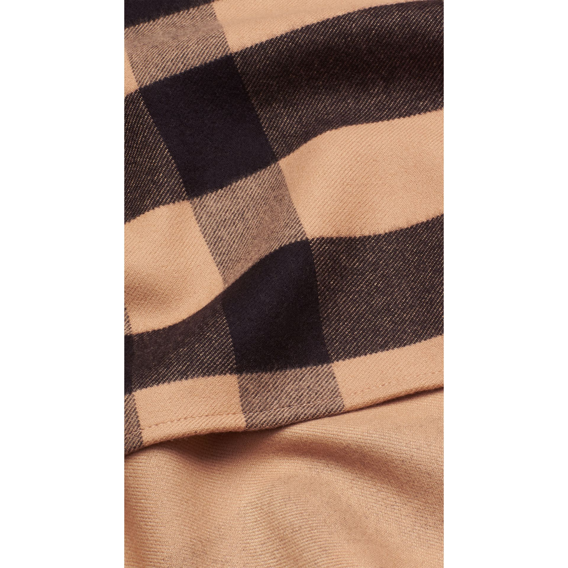 Check Wool Cape in Camel - gallery image 2