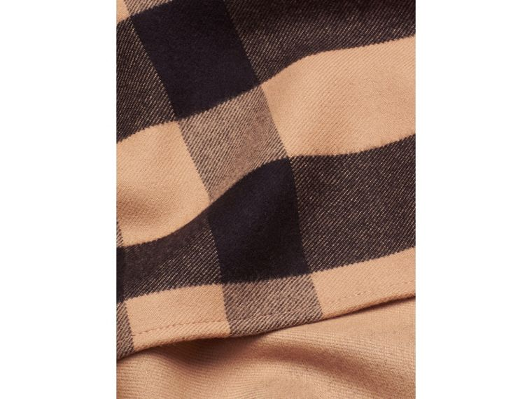 Check Wool Cape in Camel - cell image 1