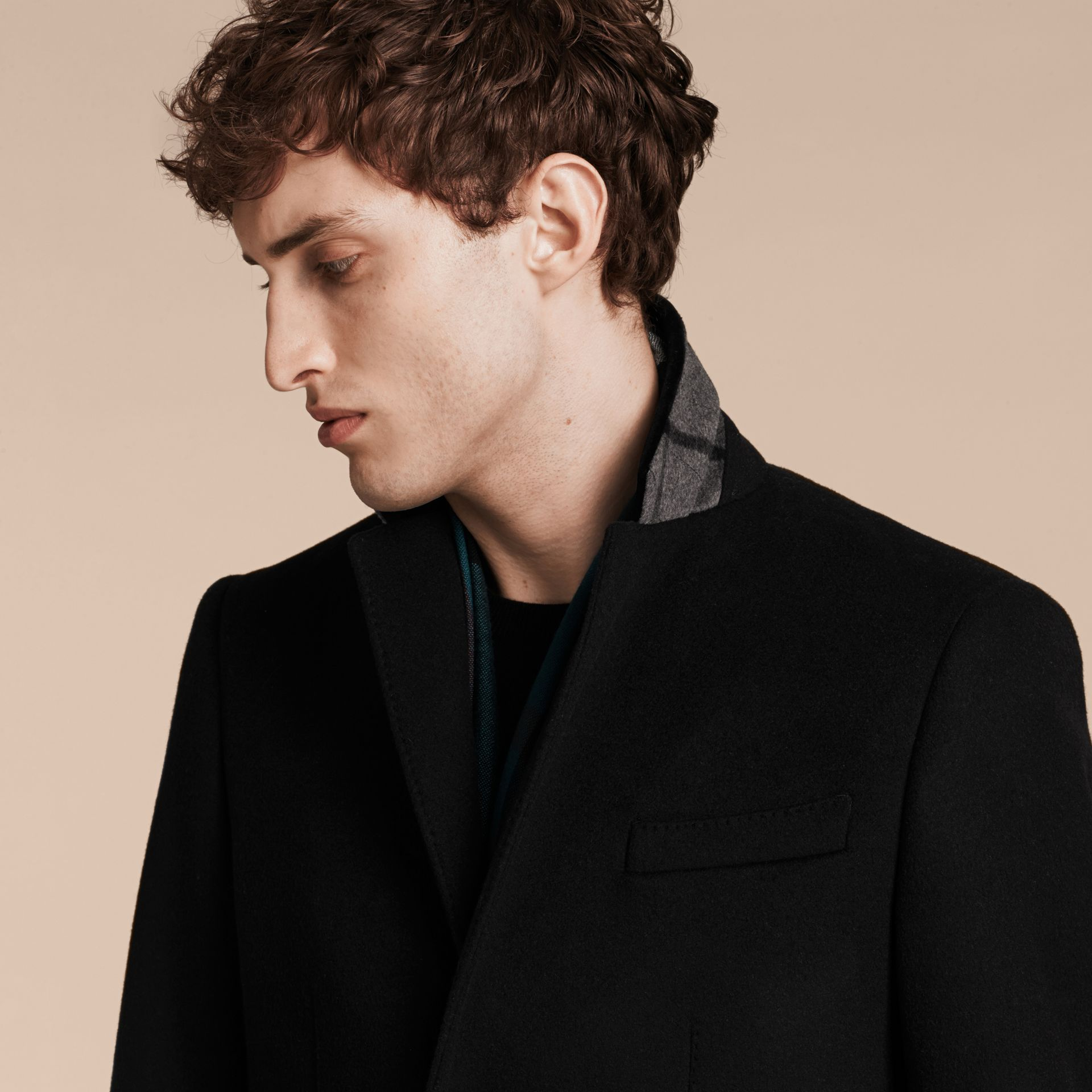 Black Velvet Collar Wool Cashmere Coat - gallery image 5