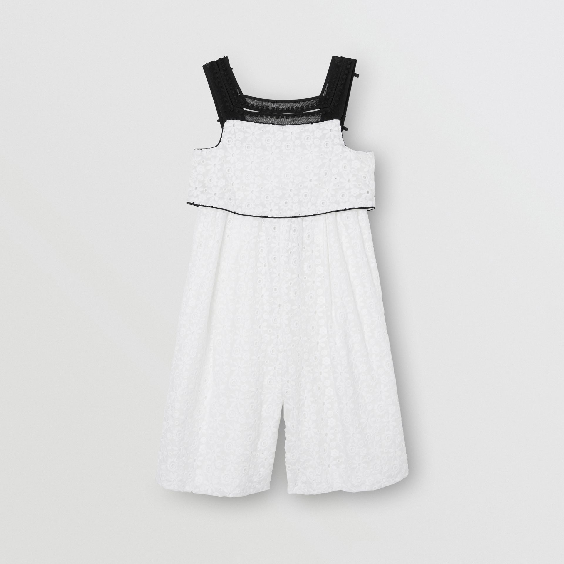 Lace Trim Embroidered Cotton Sailor Jumpsuit in White - Children | Burberry - gallery image 0