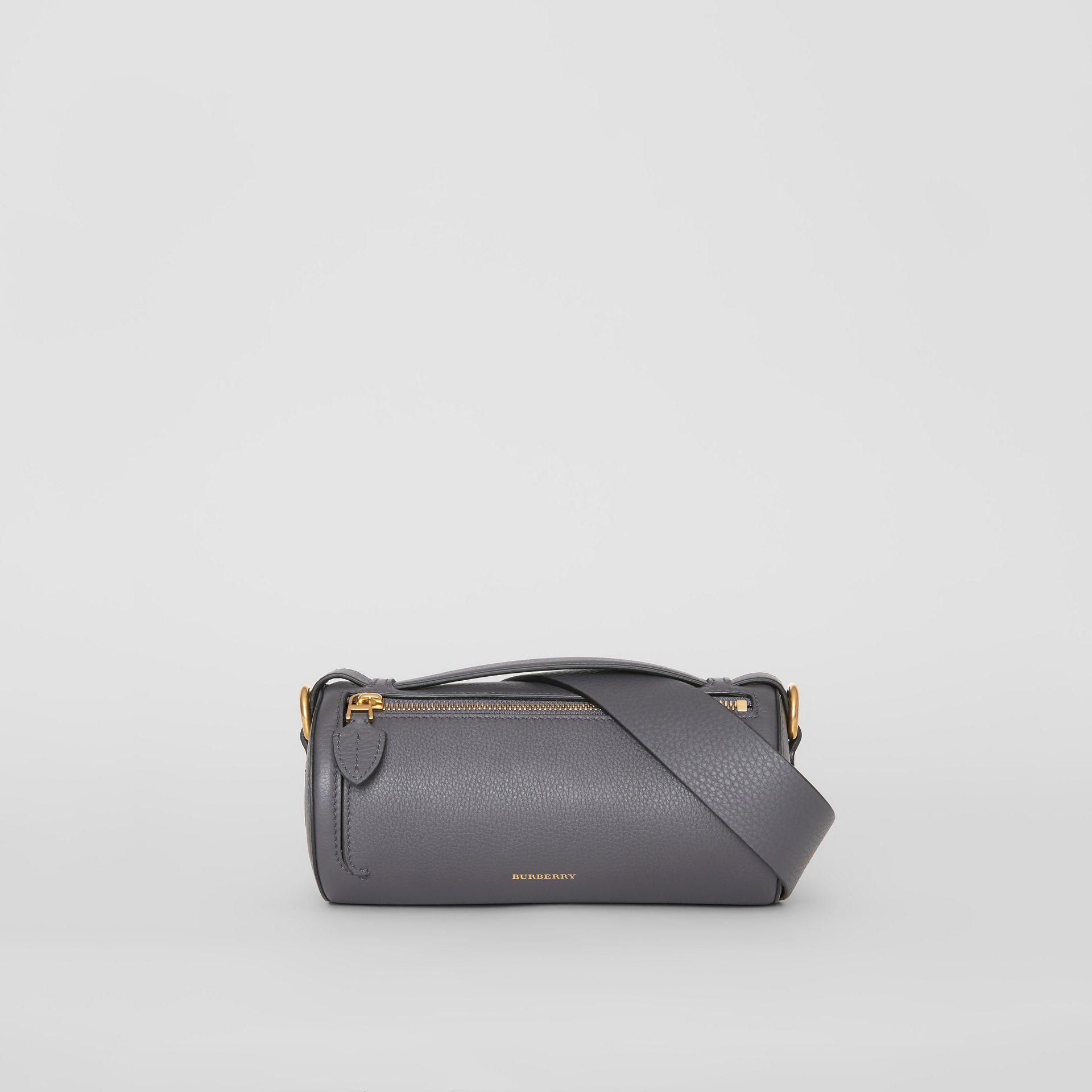 The Leather Barrel Bag in Charcoal Grey - Women | Burberry Canada - gallery image 0