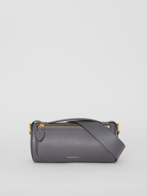 The Leather Barrel Bag in Charcoal Grey
