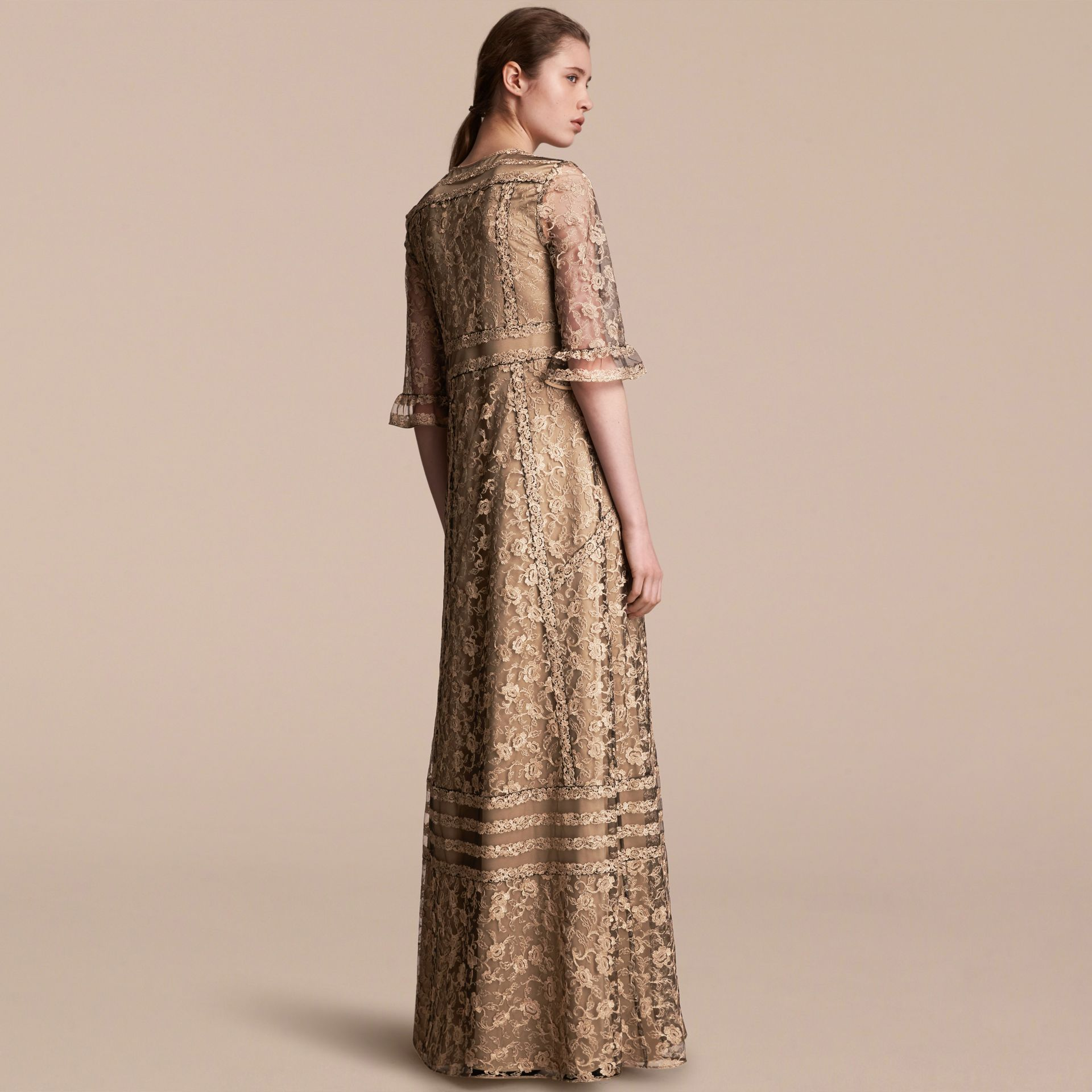 Floral Lace Tulle Dress in Gold - Women | Burberry - gallery image 3
