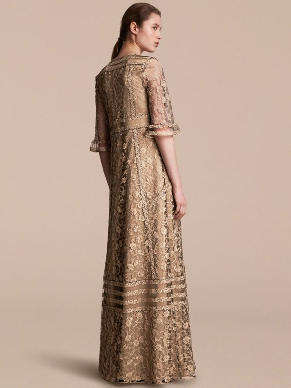 Floral Lace Tulle Dress in Gold - Women | Burberry - cell image 2
