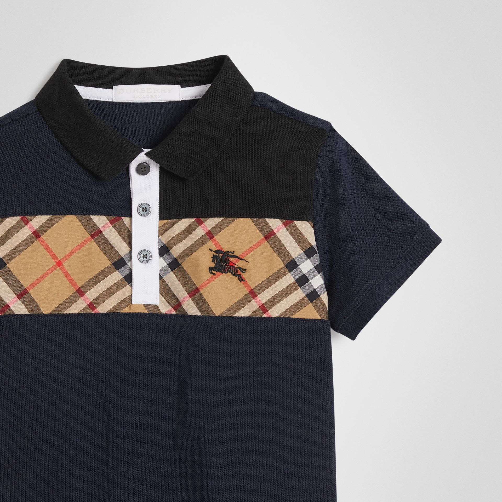 Vintage Check Panel Cotton Polo Shirt in Navy | Burberry Canada - gallery image 4