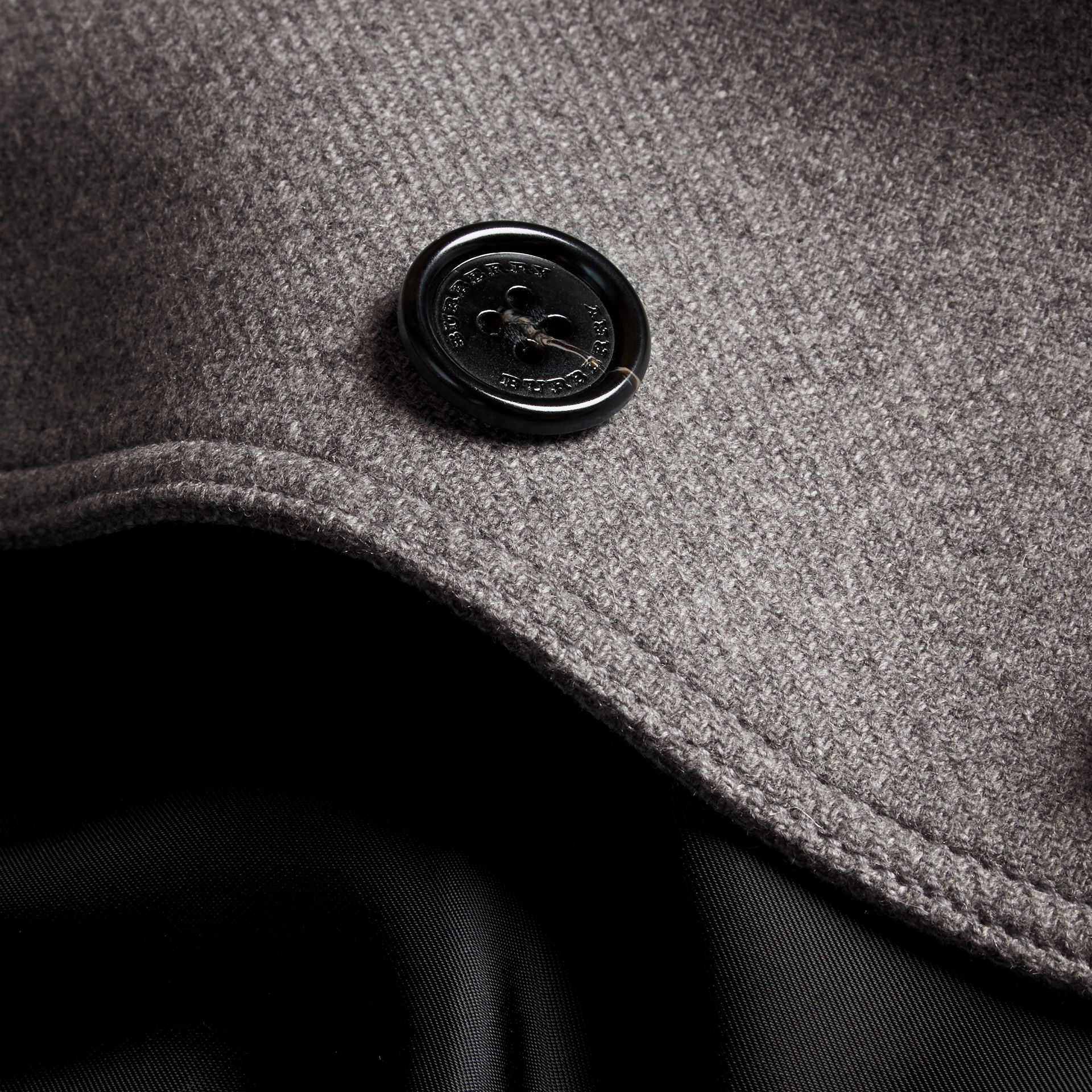 Steel grey melange Technical Wool Cashmere Funnel Neck Coat Steel Grey Melange - gallery image 2