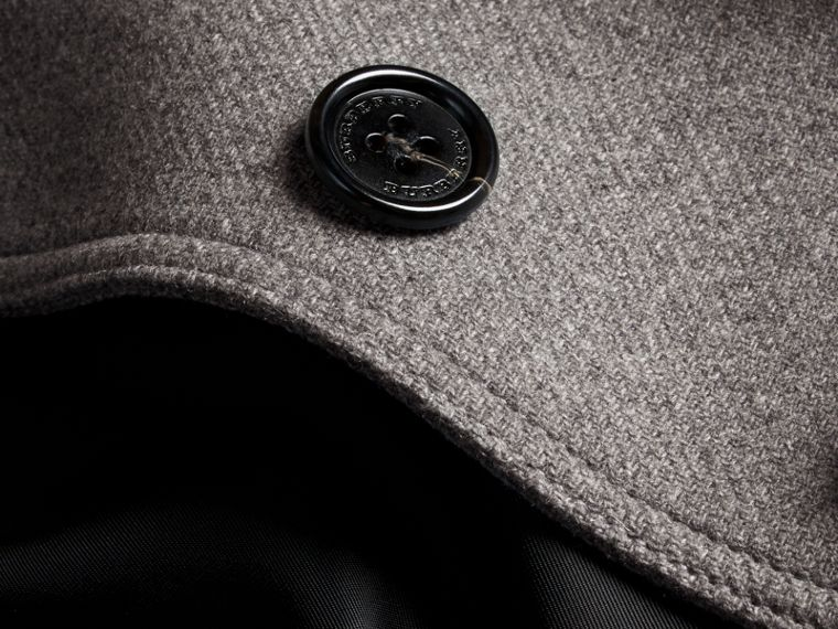 Technical Wool Cashmere Funnel Neck Coat Steel Grey Melange - cell image 1