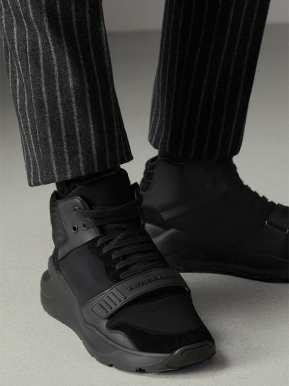 Suede Trim Neoprene High-top Sneakers in Black | Burberry - cell image 2