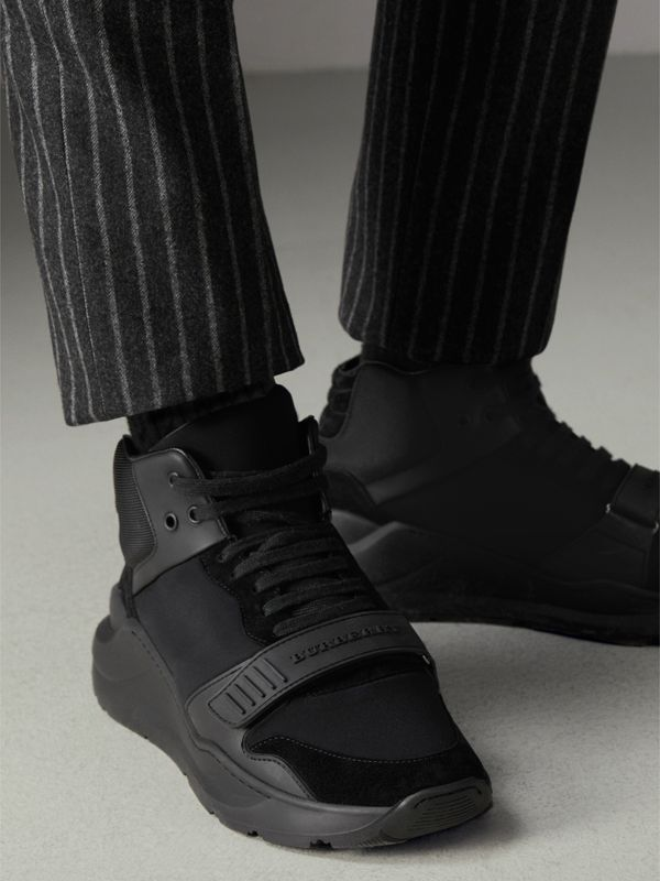 Suede and Neoprene High-top Sneakers in Black | Burberry - cell image 2