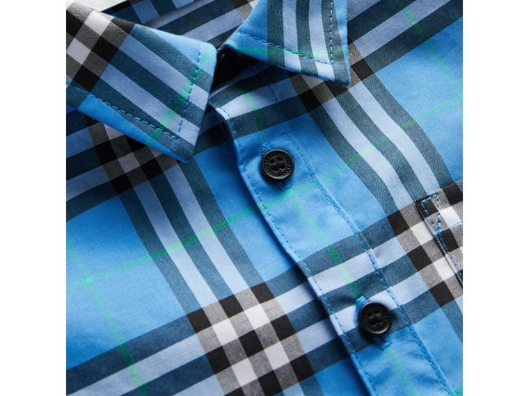 Short-sleeve Check Cotton Shirt in Azure Blue | Burberry - cell image 1