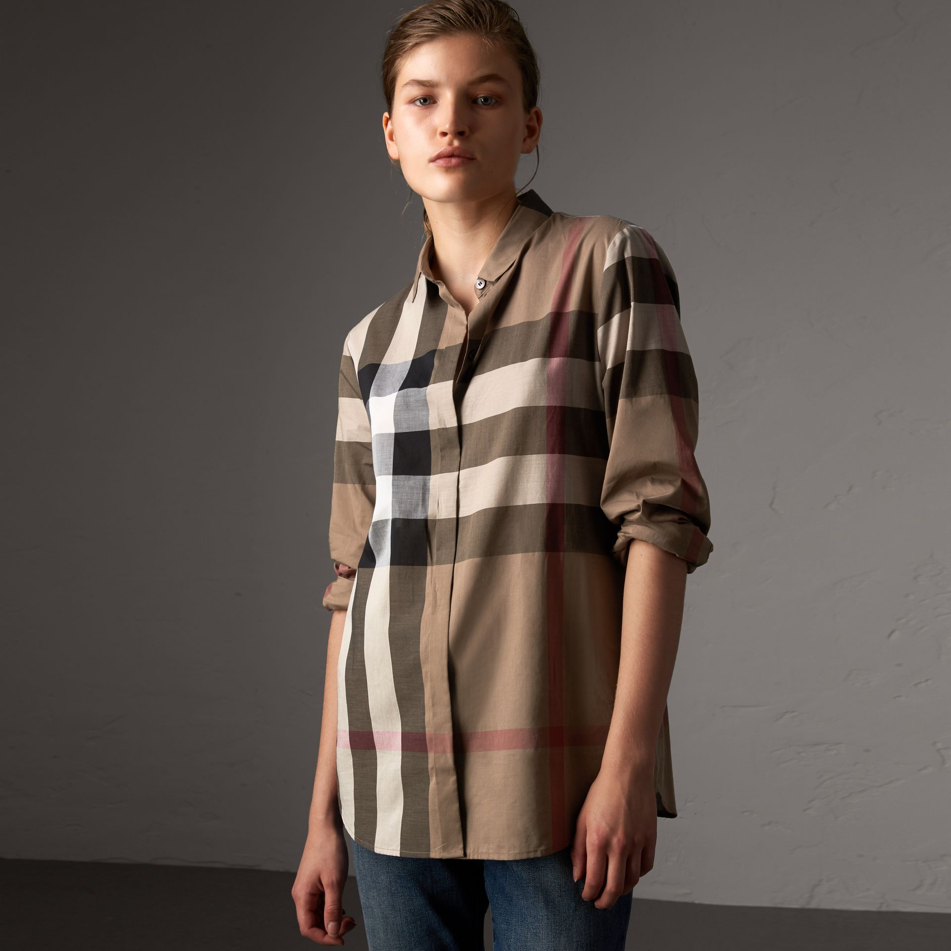 Check Cotton Shirt in Taupe Brown - Women | Burberry Canada - gallery image 0