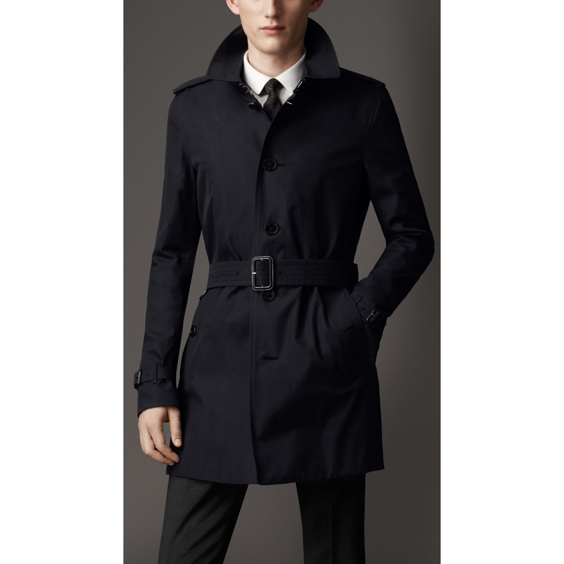 Cotton Gabardine Trench Coat in Navy - Men | Burberry - gallery image 1