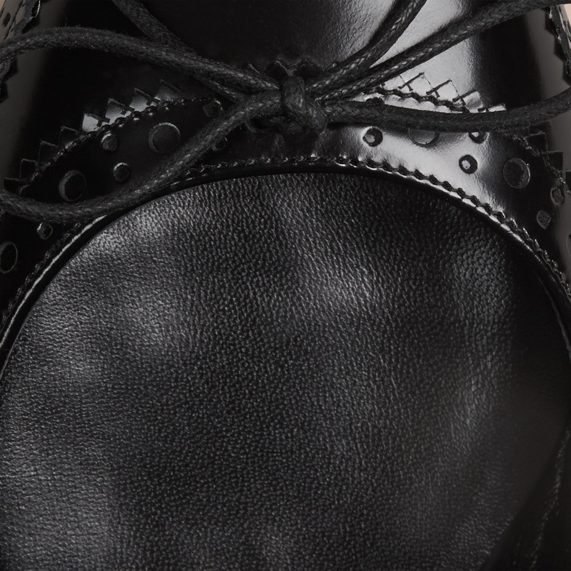 Black Brogue Detail Leather Ballerinas - gallery image 2