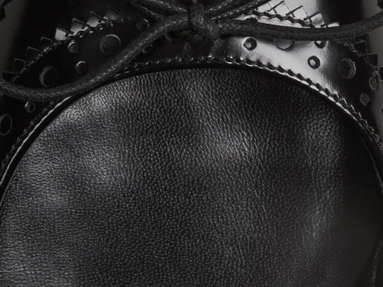 Black Brogue Detail Leather Ballerinas - cell image 1