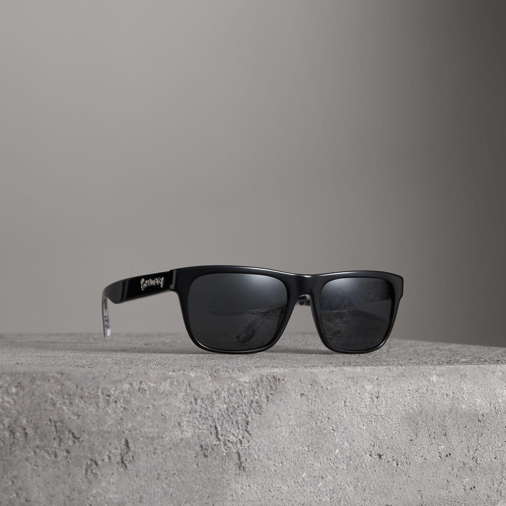 Doodle Square Frame Sunglasses in Black - Men | Burberry Australia - gallery image 0