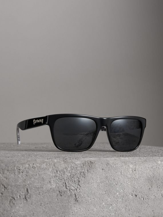 Doodle Square Frame Sunglasses in Black
