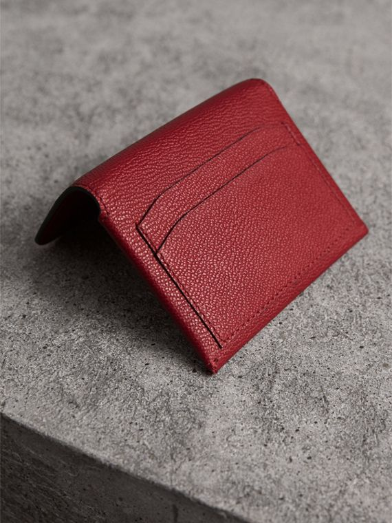 Leather Coin Case with Removable Card Compartment in Parade Red - Women | Burberry - cell image 2