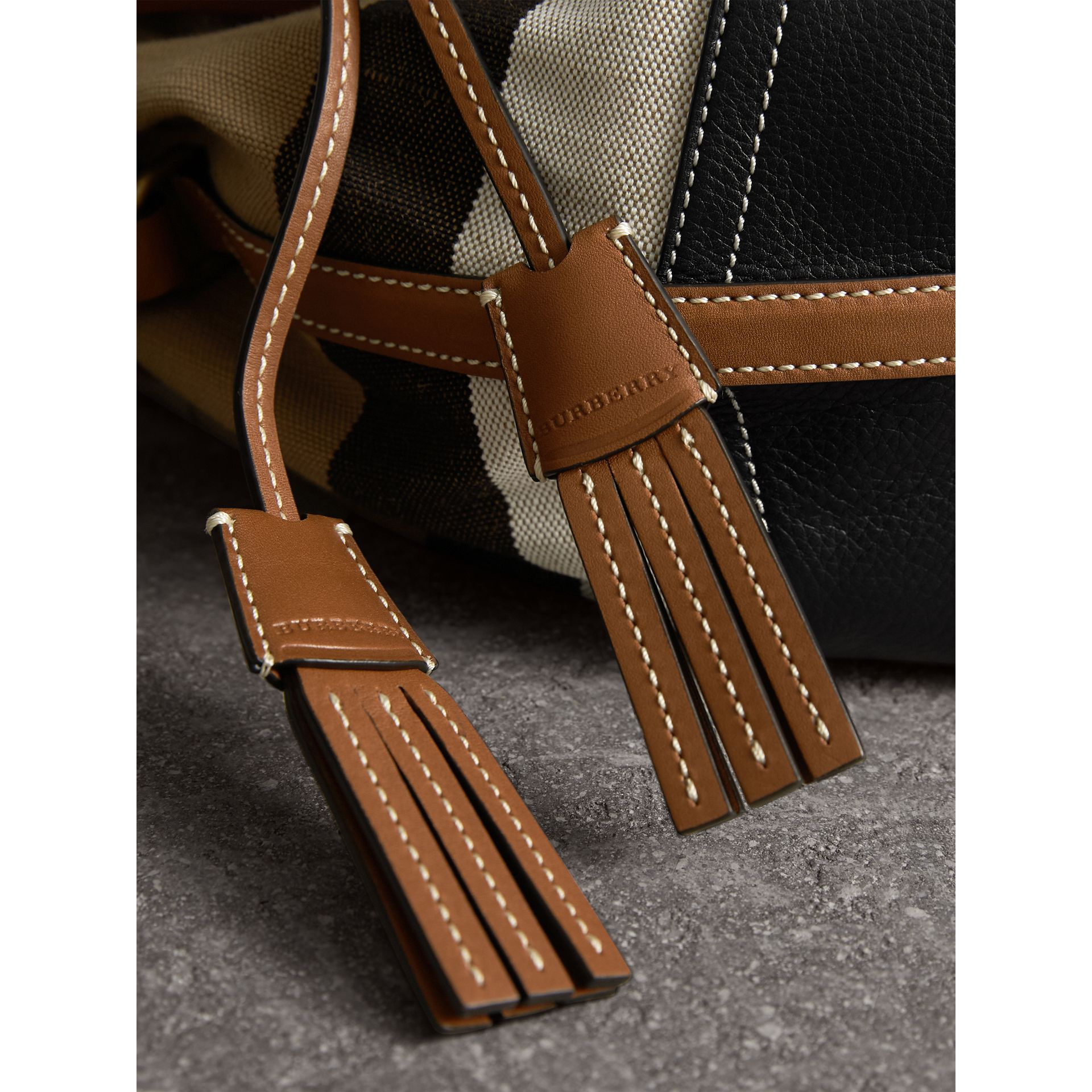 Small Canvas Check and Leather Bucket Bag in Tan - Women | Burberry - gallery image 2