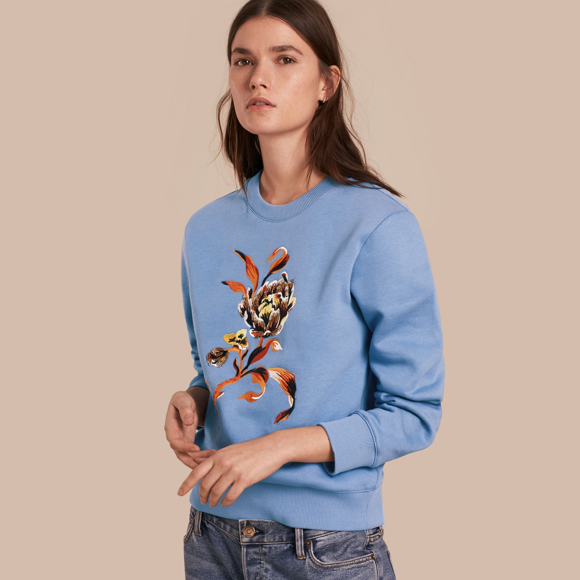 Embroidered Floral Motif Cotton Blend Sweatshirt Pale Hydrangea Blue - gallery image 1