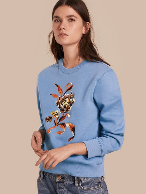 Embroidered Floral Motif Cotton Blend Sweatshirt Pale Hydrangea Blue